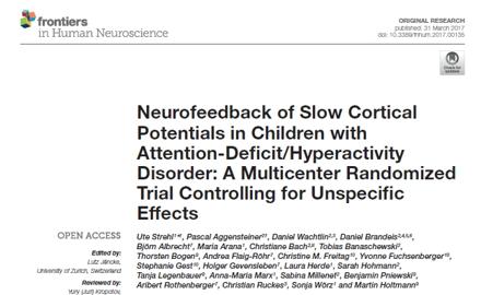 Große multizentrische Studie bestätigt, dass SCP-Neurofeedback als Therapie von ADHS wirksam und spezifisch ist